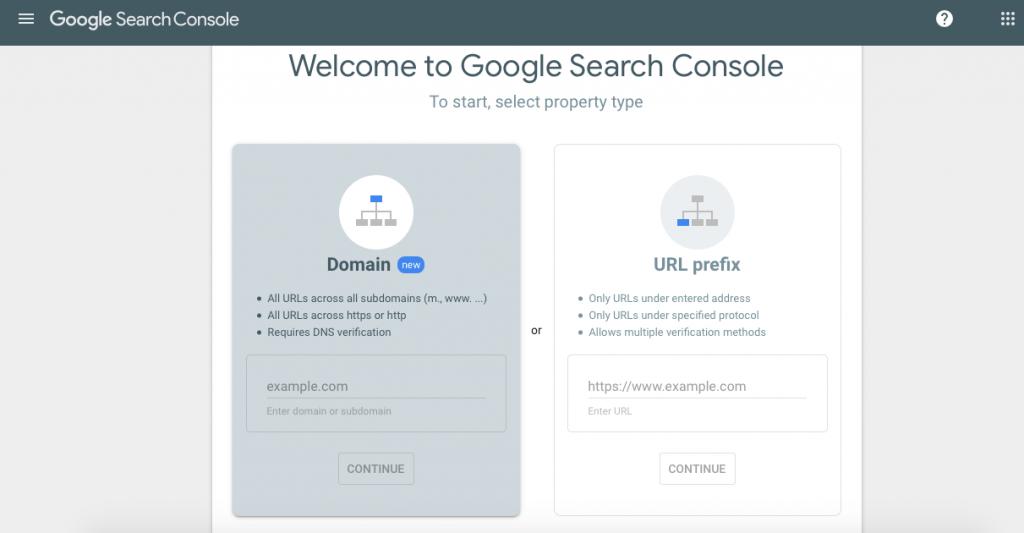 Google Search Console - Domain / URL Prefix