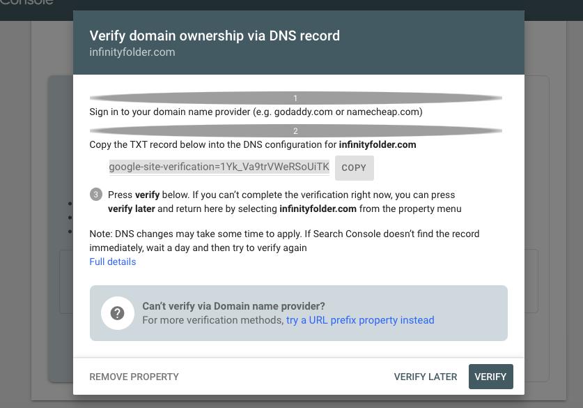 Google Search Console - Verify through DNS