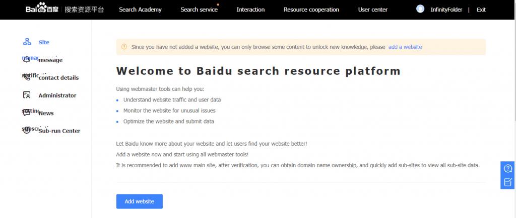 Submit Website to Baidu Webmaster Tools - Baidu Search Resource Platform