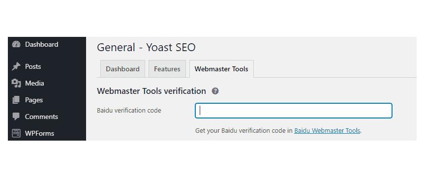 Baidu Verification through Yoast