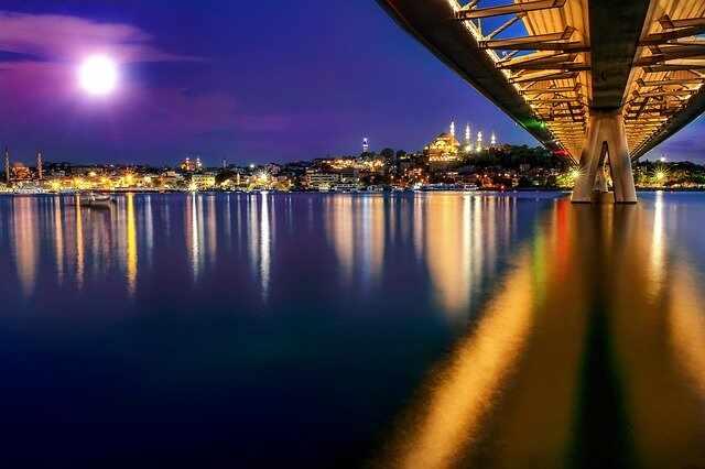 Pass under the Bosphorus Bridge on Bosphorus Dinner Cruise with Entertainment