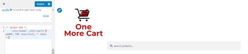 Search Bar has increased in size but is not inline with Logo