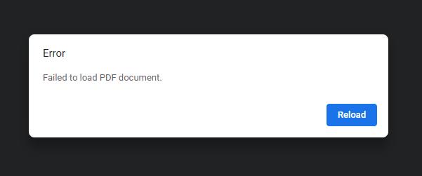Error - Failed to load PDF Document