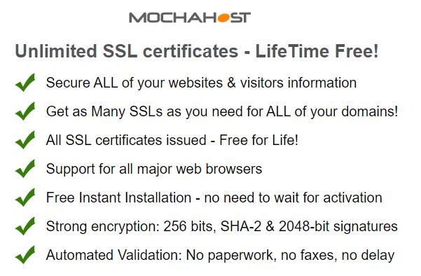 Mochahost Free SSL Certificate